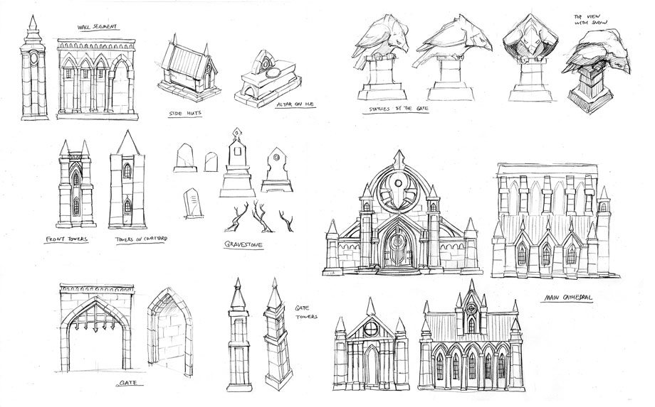Cathedral detail sketches
