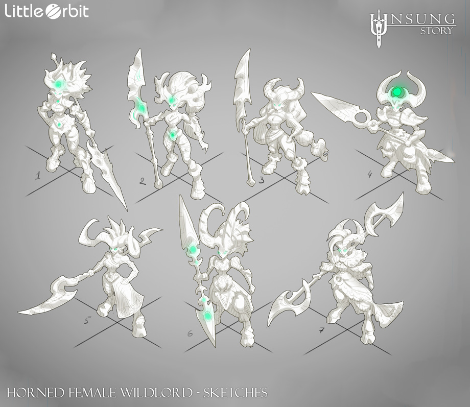 Horned Female Wildlord Design Sketches