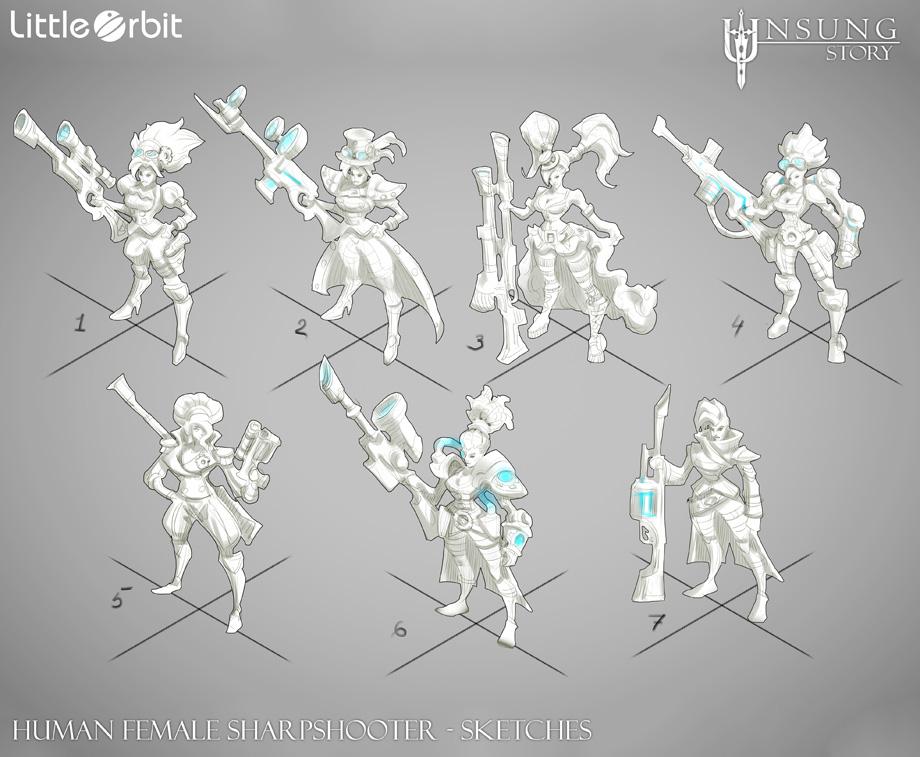 Human Female Sharpshooter Design Sketches