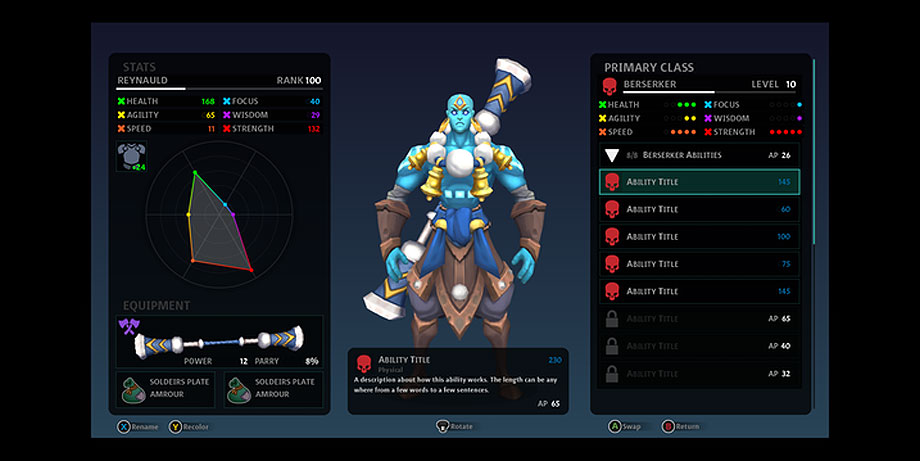 Initial Skills and Abilities UI work